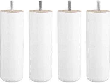 MRG - Jeu de pieds Cylindre Cylindre H20cm D7cm laque blanc filetage 8mm