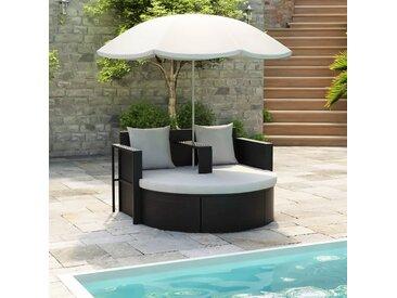 Lit de jardin avec parasol Noir Résine tressée