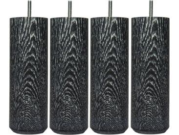 MRG - Jeu de pieds Cylindre Lounge H15cm D6.5cm noir v-blanc filetage 8mm