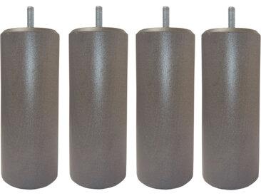MRG - Jeu de pieds Cylindre Metaliz H17cm D7cm chene grisé filetage 8mm