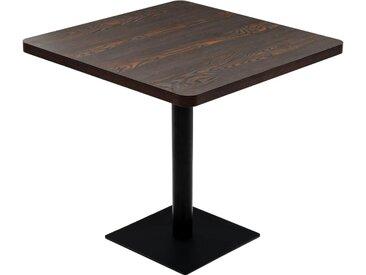 Table de bistro MDF et acier Carré 80 x 80 x 75 cm Frêne foncé
