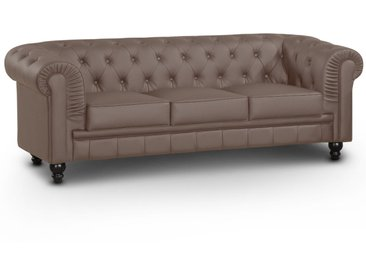 Grand canapé 3 places Chesterfield Taupe