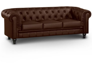 Grand canapé 3 places Chesterfield Marron