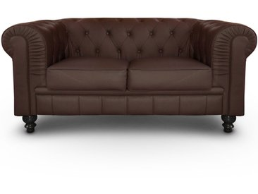 Grand canapé 2 places Chesterfield Marron