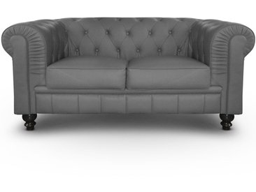 Grand canapé 2 places Chesterfield Gris