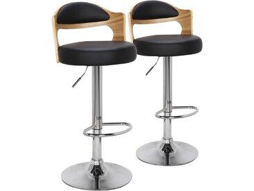 Lot de 2 chaises de bar Ruben Chêne Clair & Noir