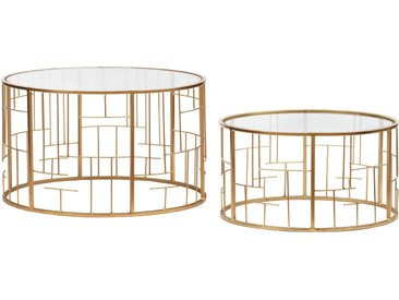 Lot de 2 Tables basses Cantal Transparent et pieds Or