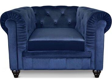 Grand fauteuil Chesterfield Velours Bleu