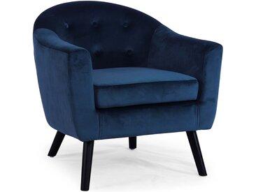 Fauteuil scandinave Savoy Velours Bleu