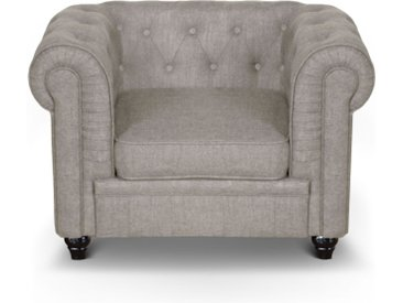 Grand fauteuil Chesterfield effet Lin Beige