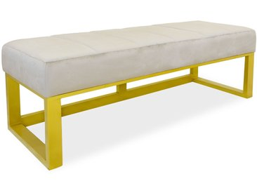 Banquette Hoxton Velours Beige Pieds Or