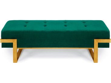 Banquette Istanbul Velours Vert Pieds Or
