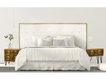 Tête de lit Donna 180 cm Métal Or et Velours Blanc