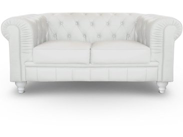 Grand canapé 2 places Chesterfield Blanc