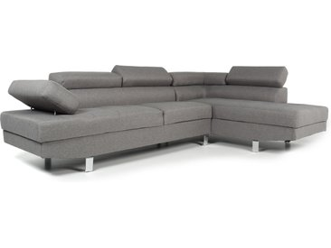 Canapé d'angle avec têtières relevables Alfa Tissu Gris