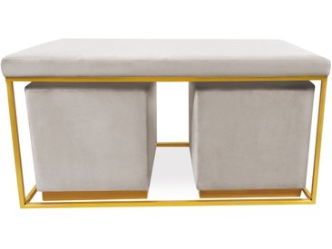 Banquette Justine + 2 poufs Velours Taupe