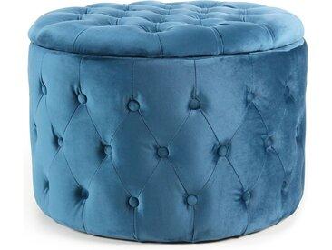Pouf coffre rond Salvina en velours capitonné Bleu