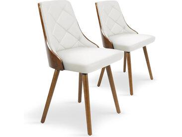 Lot de 2 chaises scandinaves Lalix Bois Noisette & Blanc