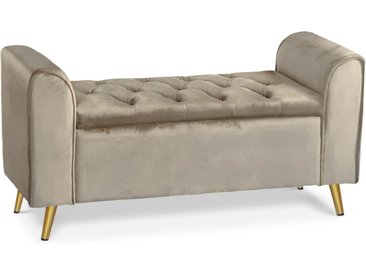 Banc coffre Winnie Velours Taupe Pieds Or