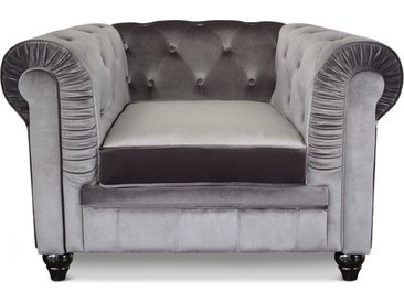 Grand fauteuil Chesterfield velours Argent