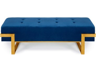 Banquette Istanbul Velours Bleu Pieds Or