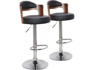 Lot de 2 chaises de bar Ruben Bois Noisette & Noir