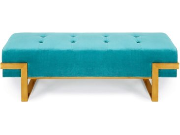 Banquette Istanbul Velours Vert menthe Pieds Or