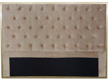 Tête de lit Mariella 140cm Métal Or et Velours Taupe