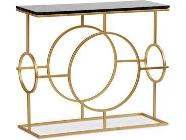 Console design Gatsby Marbre Noir et Métal Or