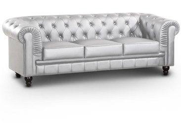 Grand canapé 3 places Chesterfield Argent