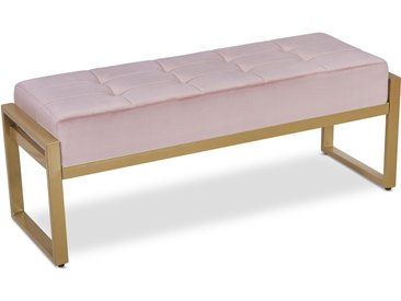 Banquette Edison Velours Rose Pieds Or