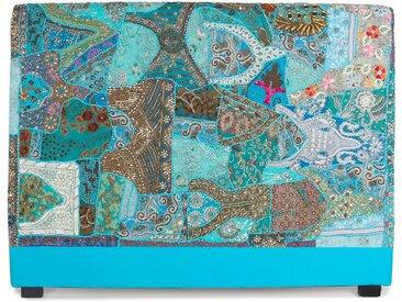Tête de lit Nilambari 160cm Tissu Bleu orné de perles et de sequins