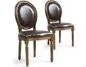 Lot de 20 chaises de style médaillon Louis XVI Simili (P.U) Marron bois patiné Or