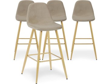 Lot de 4 chaises de bar Jody Velours Taupe pieds Or