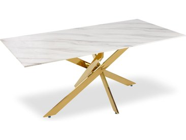 Table à manger Naelle en Marbre Blanc et pieds Or