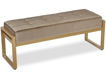 Banquette Edison Velours Taupe Pieds Or