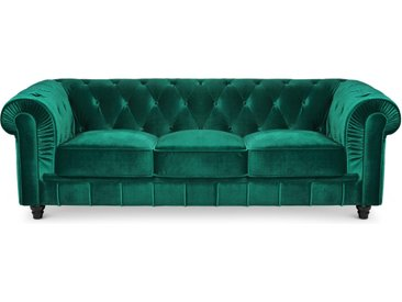 Grand canapé 3 places Chesterfield Velours Vert