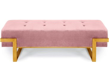 Banquette Istanbul Velours Rose Pieds Or