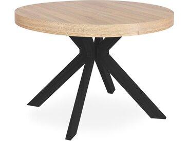 Table ronde extensible Myriade Noir et Chêne Clair