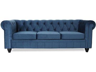 Grand canapé 3 places Chesterfield Velours Bleu
