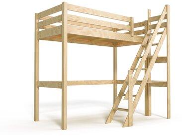 Lit Mezzanine Sylvia avec escalier de meunier bois 90x200cm Vernis Naturel