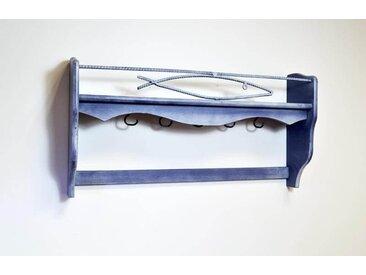 Porte casseroles bleu patine en bois  Bleu patine
