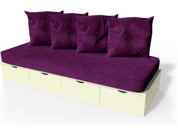 Banquette cube 200 cm + futon + coussins  Ivoire