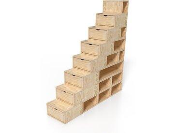 Escalier Cube de rangement hauteur 200 cm  Vernis Naturel