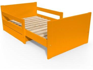 Lit évolutif enfant avec tiroir bois 90 x (140/170/200)cm Orange