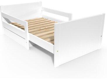 Lit évolutif enfant avec tiroir bois 90 x (140/170/200)cm Blanc