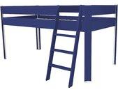 Lit Compact surélevé enfant 90x190cm Bleu foncé