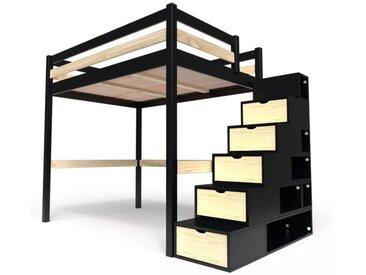 Lit Mezzanine Sylvia avec escalier cube bois 120x200cm Noir/Vernis naturel