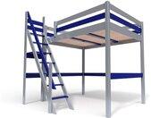 Lit Mezzanine Sylvia avec escalier de meunier bois 120x200cm Gris alu/Bleu