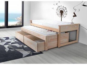Lit Gigogne Maxi 90 x 200cm + tiroirs 90x200cm Vernis Naturel